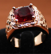 Hot new European and American plated 18k ruby engagement ring