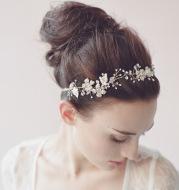 European and American high-end wedding bride Pearl crystal ornament jewelry crown hair headdress handmade jewelry trade