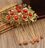 Chinese golden flowers classical costume styling wedding wedding bride headdress accessories crown hair wholesale