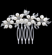 Spot Pearl crystal small silver wedding bride and comb comb wedding headdress alloy