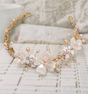 The bride wedding headdress ornaments wholesale pearl ceramic Golden hoop luxury wedding headdress wedding accessories
