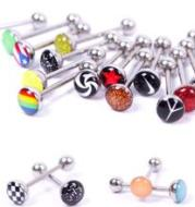 Manufacturers selling 30 styles of oil titanium stainless steel tongue pin tongue pin rod clapper ring body piercing