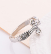 2021 Taobao Korean version of creative new product fashion white gold lady ring engagement gift manufacturer
