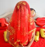 Queqiao wholesale wedding wedding wedding supplies bride red sequined hijab headdress good quality super cheap bride