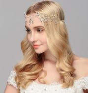 New bride's head ornaments, pearl crystal hair band head hoop, European and American fashion wedding decorations factory