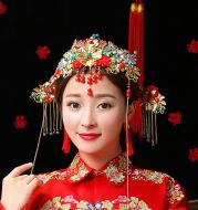 Wo Chinese wedding bride clothing show hair headdress headdress costume bride crown hair hanging dragon phoenix coronet and robes of rank