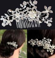 Big European Pearl Rhinestone hair comb comb bride bride wedding accessories wholesale headwear alloy