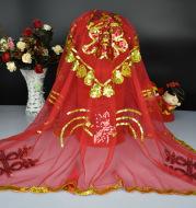 Wedding supplies manufacturers selling wedding wedding veil wedding bride headdress sequined red head