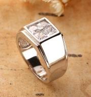 Genuine S925 pure silver ring men, European and American classics inlay imported zirconium diamond 2021 new engagement men