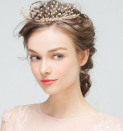 YG420 Europe and the explosion of great crown Pearl Wedding Veil Bride headdress jewelry handmade hair ornaments