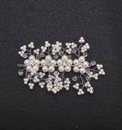 The bride wedding photography studio Korea comb handmade pearl crystal soft chain frontlet Tiara Comb custom