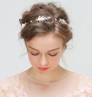 YD213 new bride wedding bridesmaid wreath headdress with crystal ornament Pearl Jewelry Headband