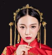 Chinese wedding bride headdress hairpin tassel Hoop Earrings Set Wedding Gown Costume show kimono Longfeng jewelry
