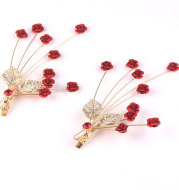 Chinese red dress accessories rose bride wedding jewelry earrings hairpins headdress ornaments