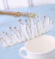 The bride wedding dress Korean jewelry accessories handmade crystal beads headdress hoop wedding custom Baroque crown