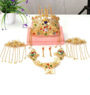 Ling Tong new bride headdress crown Chinese hair Coronet suit hair wedding jewelry one generation