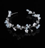 Bride wedding accessories handmade crystal beaded Pink Jade Zhizhu soft chain belt hoop factory wholesale headwear