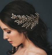 The bride wedding outdoor shooting handmade pearl comb shape sample leaves hair headdress spot wholesale