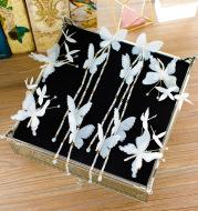 Korean brides long flowers, butterflies, butterflies, Juan, yarn, hairpin, ear and ear, ear, ear, ear and ear, wedding and wedding wedding