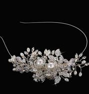 The bride wedding headdress handmade pearl crystal diamond hoop hoop alloy flower headband hair headdress