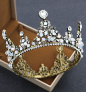 Korean bride rounded crown princess pearl diamond wedding ornaments crown headdress wedding accessories