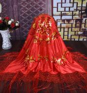 The new factory wholesale wedding wedding wedding veil headdress Satin petals fringed red head