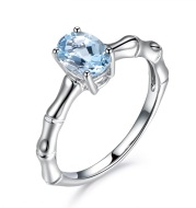 Zhen Rong, European and American Creative bamboo ring, ring carat natural sea blue jewel ring plated 18K engagement ring female ring