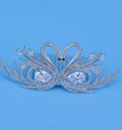 The new high-end Korean children's hair zircon crystal Swan small crown bride wedding headdress head insert comb