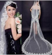 The bride wedding veil wedding wedding headdress accessories manufacturers 3 meters long white lace veil wholesale