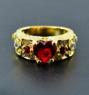 Wish cross border jewelry new hot selling European and American Princess ring heart shaped Ruby engagement ring ring w116