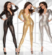 Patent leather punch bodysuit