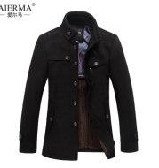 Foreign trade boutique winter new men's business casual men's cashmere and wool tweed coat collar woolen coat coat