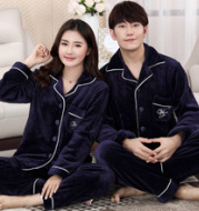 Winter young lovers flannel thickening suit for men's corashi long sleeves, long sleeves, big yards of ladies' home clothes
