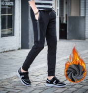 Winter leisure pants male winter with thick warm pants upon men's cashmere knitted sportswear skinny pants pants men Wei