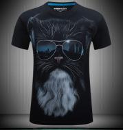 Animal pattern 3D t-shirt men's personality creative half sleeved 3D T-shirt short sleeved short sleeved T-shirt wholesale