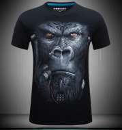 creative stereoscopic pattern T - shirt youngsters printed male short sleeved 3D T-shirt earphones
