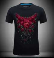 Men's short sleeved 3D T-shirts pure cotton tide brand character printing collar loose plus fat half sleeved shirt T rose