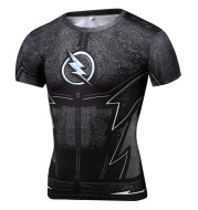2020 new men's short sleeved T-shirts outdoor sports leisure lightning printing 3D T-shirt round collar fast dry tights
