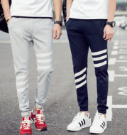 Fashion tide men's sports trousers Korean version of self-cultivation beam casual sports pants large size