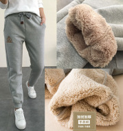 Wholesale 2020 winter cashmere thickened trousers female lamb cashmere and velvet trousers for women's casual pants