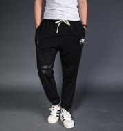 Men's casual pants with a big fat code fertilizer upon elastic casual pants men loose elastic waist pants male