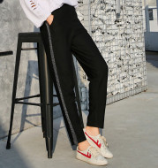 In the spring of 2020 silver striped trousers female waist nine Haren pants sweatpants size casual pants