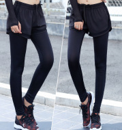 The fall of new fake two sport gauze pants nine anti breathable pants female running fitness yoga clothes