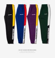 Mustard Mens |2021 autumn color stripe English Monogrammed casual pants pants pants elastic pedal