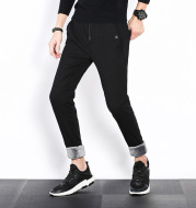 The winter men's casual pants with cashmere thickened slim feet micro elastic lace pants pants trousers warm Wei