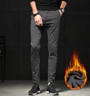 Autumn and winter men's pants men's casual pants men's fashion all-match Pants Plus velvet long pants tide thickening