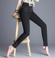 Cashmere and thick female feather pants in winter, new small feet tight pants, warm and comfortable elastic trousers