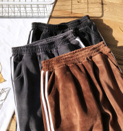 Autumn and winter thickening and velvet side side collision color sports loose trousers 5595 trousers 5595