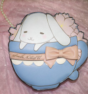 Super Cute Tea Cup Rabbit Shoulder Lolita Bag Japanese Style Bunny Shape Bow Pearl Chain & PU Strap Pink & Blue Women's Set