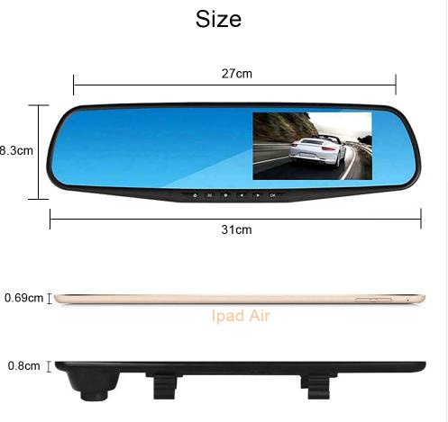 4.3 Inch Dual Lens 1080P Car Video Camera